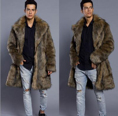 Autumn long faux mink leather jacket mens winter thicken warm fur leather coat men slim jackets