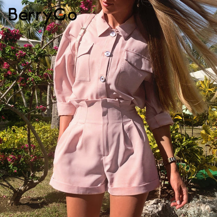 BerryGo Casual buttons two piece suits women set High waist pockets female short jumpsuit