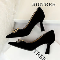 BIGTREE Women Pumps 2020 New Women High Heels Shoes Fashion Crystal Square Buckle Shoes Pumps Women Heels Stiletto Women Shoes