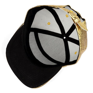 Hip Hop Rap 5 Panel Metal Skull Logo PU Leather Baseball Cap Casual Unisex Belt Buckle Snapback Hats Men Black Red Gold