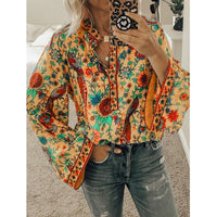 2020 Boho Blouse Peacock Floral Print Long Sleeve Shirt Casual V-neck Women Tops Summer