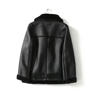 Winter black PU faux leather jacket womens leather jacket with fur collar thick warm moto biker jacket women coat vintage