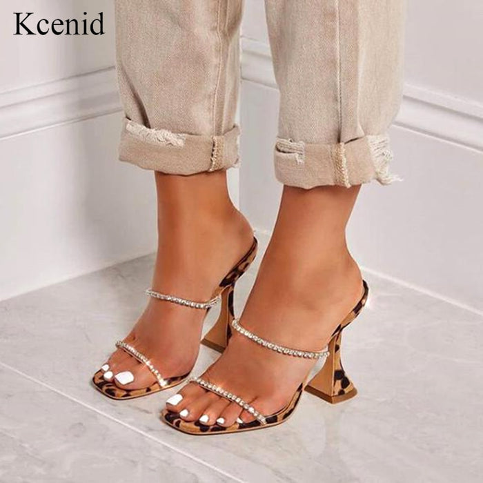 Kcenid New summer slippers women leopard high heels fashion strap rhinestone