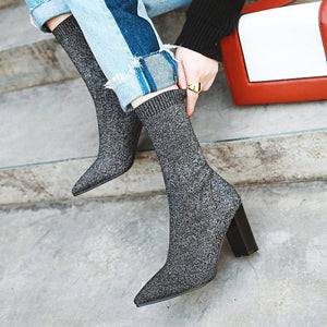 Women Ankle Boots Stretch Knitting Sock Boots Plus Size Pointed Toe Autumn Winter High Heels Female Slip On Lady Shoes 34-39