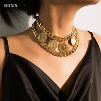 SHIXIN Hip Hop Chunky Necklace for Women Punk Layered Chain Choker Necklaces Vintage Coin Pendant Necklaces 2020 Fashion Jewelry
