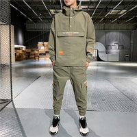 Men's Hooded Jacket+Pants 2PC Sets mal Workwear  front pocket coat& Long Pants mal Clothing 4XL