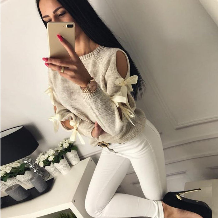 Women Casual Solid Bow Tie Pullover Loose Sweater Jumper Tops Knitwear Women's Solid Color