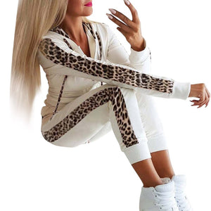 Side Leopard Print 2 Two Piece Set Top and Pants Women Cotton Tracksuit Pullovers Sweatshirt Loose Suits Casual Sportwear 2019