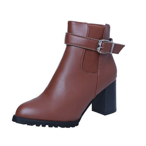 Women Ankle Boots Winter Suede High Heels Boots Ladies Fashion Pointed toe Gladiator Black