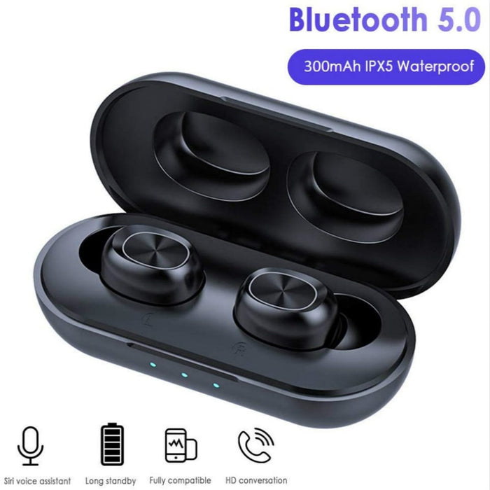 TWS Bluetooth Earphones Streo Wireless Earbuds with Wireless Charging Case 3D Stereo Sound IPX5 Waterproof Whit Charging Box (Black)