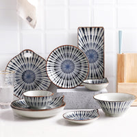 Japanese Traditional Style Ceramic Dinner Plates Porcelain Dishes Saucer Sushi plate Rice Noodle Bowl Dinnerware Tableware Set