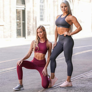 Fitness Women Yoga Set Sexy Gym Wear Running Clothing Padded Top Backless Sportswear Sport Suit Tracksuit Tank Top Legging