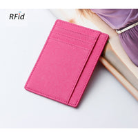 RFID Cow Leather Sweet Fashion Candy Color Business Card Holder  Womens Safiano Cross Pattern Wide Plus Size id card Case Wallet