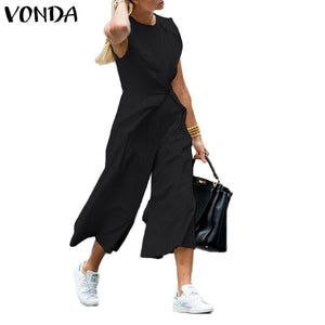 VONDA Sexy Rompers Womens Jumpsuits 2019 Summer Female Casual Loose Playsuits Bohemain Sleeveless Overalls Loose Pants Plus Size