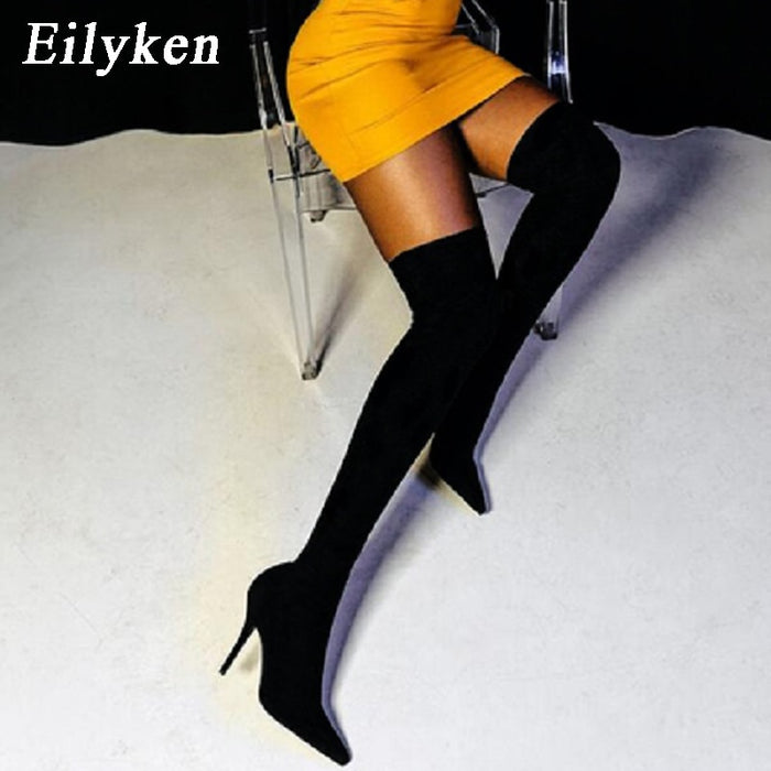 Eilyken 2020 Fashion Runway Stretch Fabric Sock Boots Pointy Toe Over-the-Knee Heel Thigh