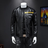 Male leisure fashion personality qiu dong PU leather jacket men suit male article number 19868 P225