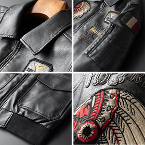 MIAMOOM  Embroidered Leather Men's Short Jacket Motorcycle Lapel Men Soft Leather Jacket