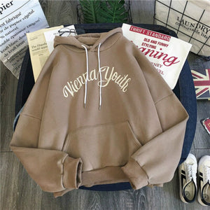 Hoodies Women Plus Velvet Female Letter Printed Ulzzang Big Pocket Students Harajuku Hooded Loose Womens Sweatshirts Chic Casual