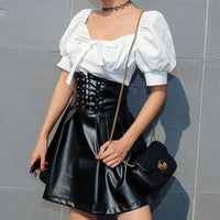 Faux Latex PU Leather Skirt Women Zipper Black High Waisted Pleated Skirts Womens Lace Up A-line Sexy Mini Skirt Female
