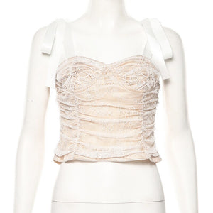 Viifaa Self Tie Shoulder Spaghetti Strap Ruched Lace Overlay Sexy Crop Top Summer Streetwear