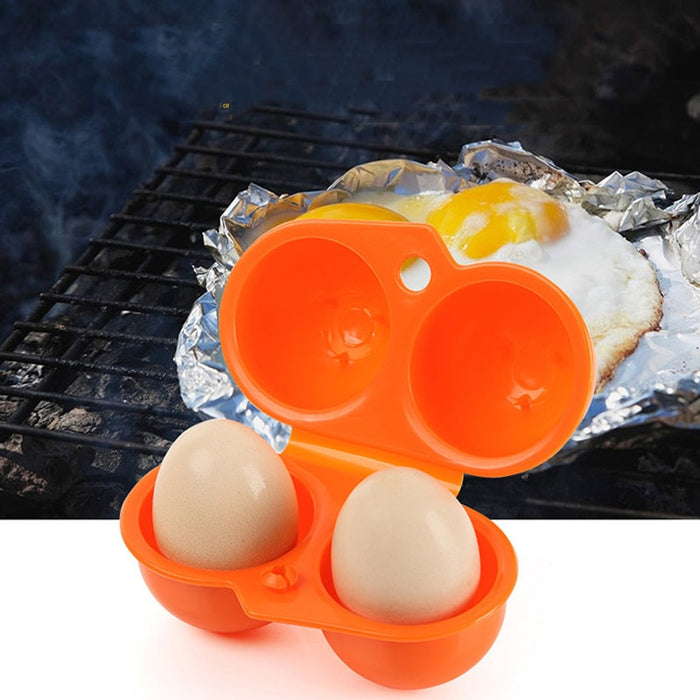 Outdoor Camping Tableware Portable Camping Picnic BBQ Egg Box Container 2 Egg Storage