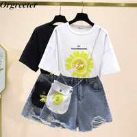 2020 Summer Hot Fashion 2 piece set Women Flower Printted Loose Tshirt and Daisy Embroidery Denim Shorts Suits With Free Bag