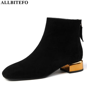 ALLBITEFO gold heel genuine leather square toe women boots high quality low-heeled ankle boots for women winter martin boots