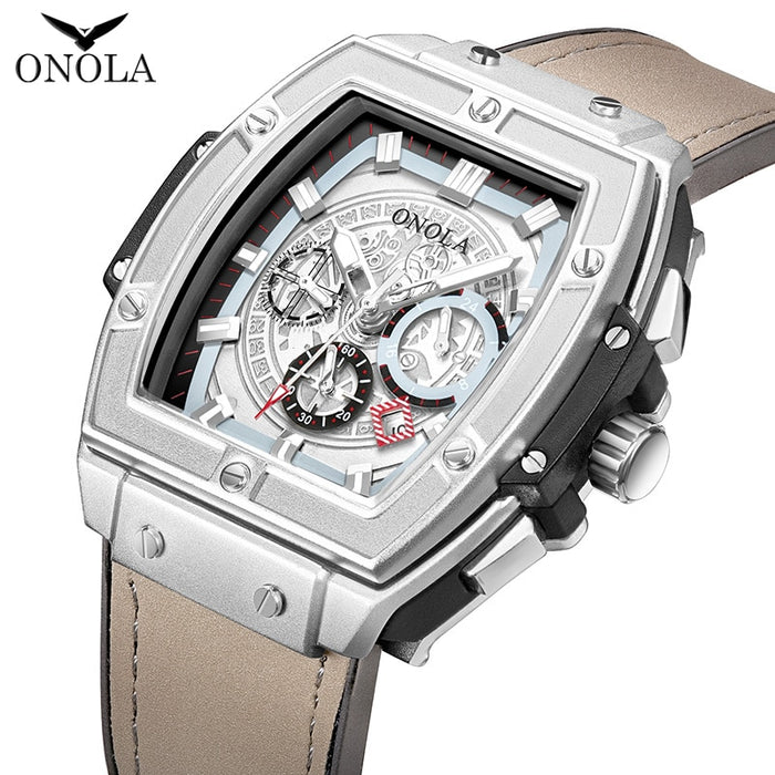ONOLA tonneau square automatic mechanical watch man luxury brand unique wrist watch