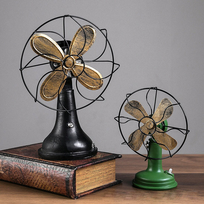 Home Decoration Accessories Vintage Europe Retro Fan Shape Ornaments Miniature Table Figurines