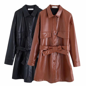 ZA 2019 autumn winter women's jacket brown black PU leather vintage sashes outwear chic ladies coat female tops woman clothes