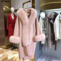 OFTBUY 2020 Winter Jacket Women Natural Fox Fur Collar Cashmere Wool Blends Outerwear Real Fur Coat Streetwear Thick Warm New
