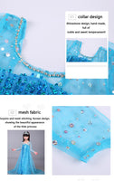 Disney Frozen Kids Dresses for Girls Elsa Costume Blue Princess Dress Halloween Christmas Party Sequined COS Children's Clothing