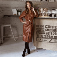 Women Vintage Pu Leather Belt Straight Dress Ladies Seven Sleeve v Neck Sexy Party Dress 2020 Spring summer New Midi Dress