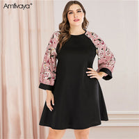 Amtivaya Plus Size Women's Dresses Long Sleeve Midi Dress with Slim Sash Spring 2020