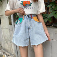 SML preppy style high Waist Denim Shorts jeans for Women 2020 Summer Ladies color patchwork pocket jeans Shorts womens (F6379)