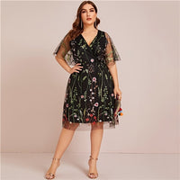 SHEIN Plus Size Floral Embroidered Mesh A-line Black Dress Women Summer Half Sleeve V-neck Empire Elegant Midi Flared Dresses