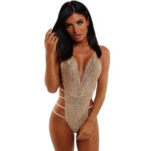 Bling Sequined Bodysuit Women Deep V Neck Backless Criss Cross Bandage Hollow Out High Cut Jumpsuit Clubwear Lady Hot Playsuits