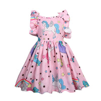 Baby Girl Dinosaur Unicorn Print Dress 3 4 5 6 7T Flying Sleeve Colorful Print Floral Outfits Ruffles