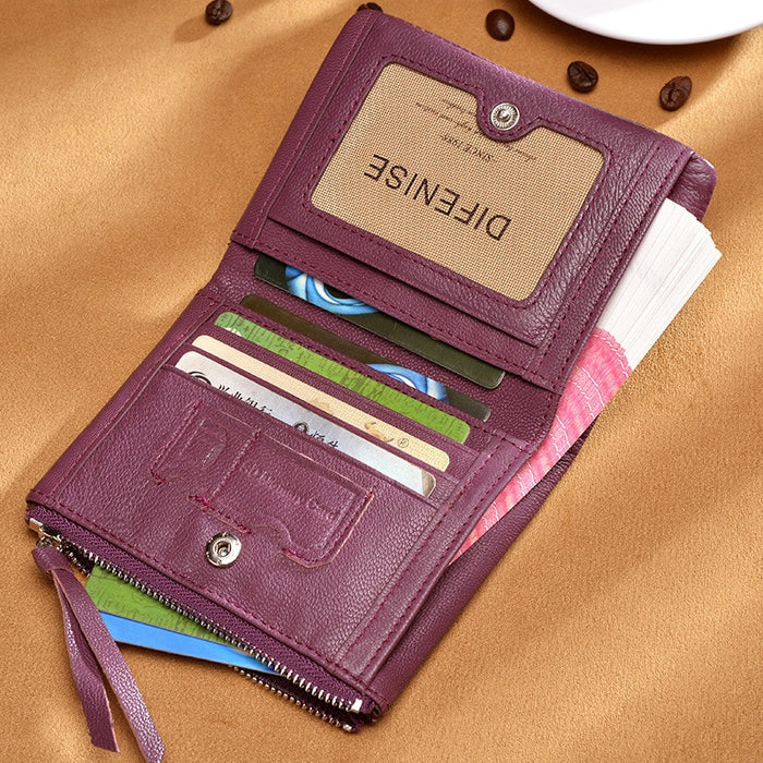 Retro Genuine 100% Genuine Leather Women Mini Wallet Large Capacity Card Holder Lady