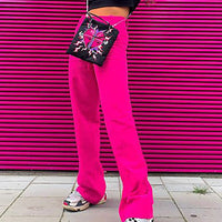 OMSJ 2019 New High Waist Fashion Streetwear Women's Solid Full Length Trousers Sweat Pants Elastic Waist Neon Pink Flare Bottoms
