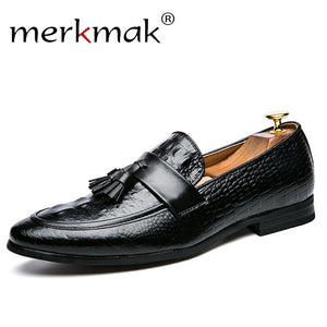 Merkmak Crocodile Pattern Autumn Men Loafers Tassel Spring Causal Leather Shoes Men Slip On Formal Soft Big Size 47 Male Flats
