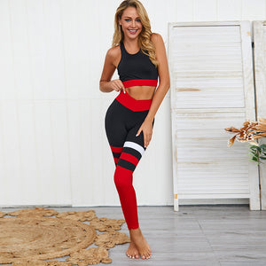 Women Tracksuit Sexy Hit Color Striped Sport Suit Female Yoga Set Workout Gym Wear Running