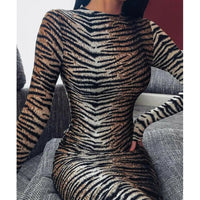 Sexy Mini Dress Women's Leopard Cocktail Party Bodycon Clubwear Dresses Vintage Animal Print Pencil Dress Fashion Clothes