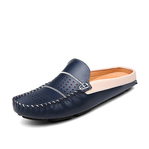 Handmade Leather Half Shoes For Men Casual Mule Shoe Black White Blue Man Moccasin