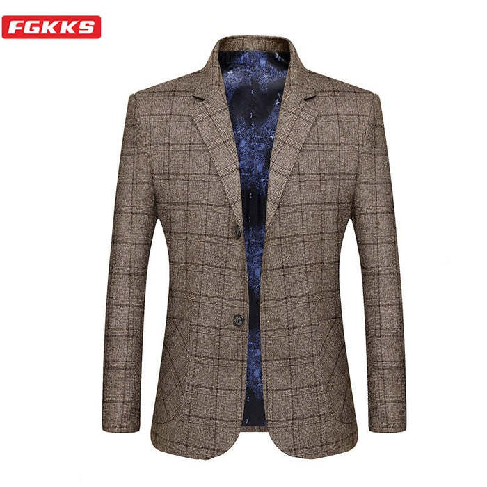 FGKKS Brand Men Blazers Lined Print Men's Business Casual High Quality Wild Suit Fashion