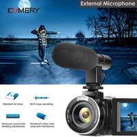 KOMERY 4K FHD 48 Million Pixels 3.0 Inch LCD Touch Screen Video Camera Support WIFI External Mic Infrared Remote Control