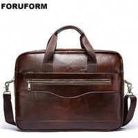 Men's Genuine Leather Briefcase Male Man Laptop Bag Natural Leather For Men Messenger Bags Men's Briefcases