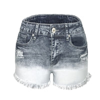 Women's Tassel Denim Shorts Vintage Ripped Loose High Waist Shorts Punk Sexy Short Jeans