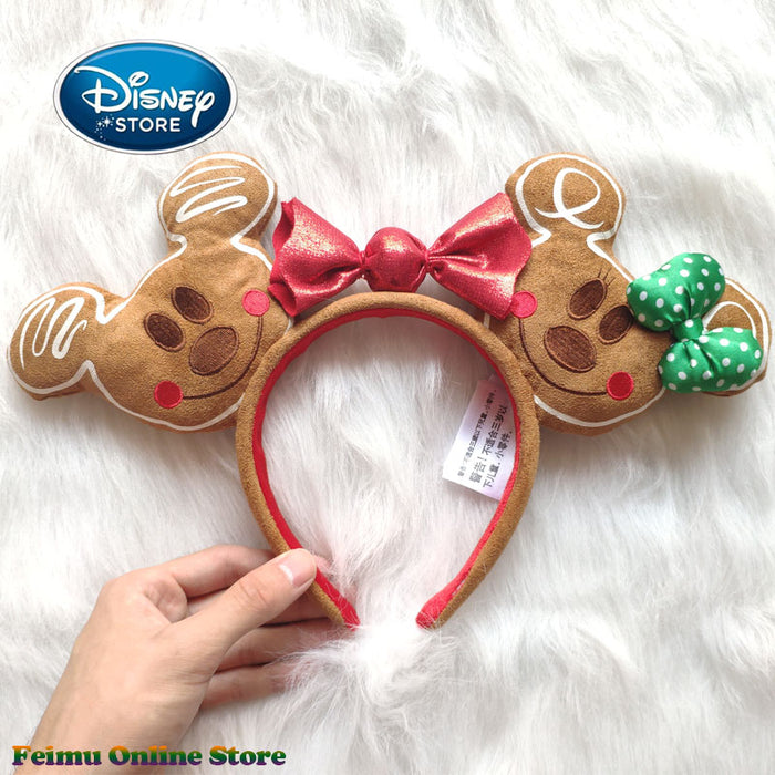 Disney Christmas Mickey Gingerbread Headband 3D Mickey Mouse Ears Disneyland Hair Hoop