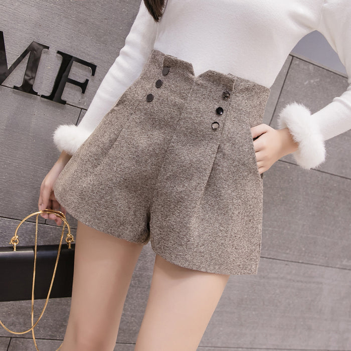 Women Woolen Shorts 2019 Autumn Winter New Fashion High Waist Double-breasted Wool